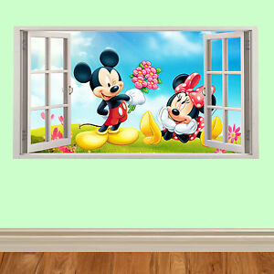 micky maus 3d fenster kinder wandaufkleber f r schlafzimmer autos m bel ebay. Black Bedroom Furniture Sets. Home Design Ideas