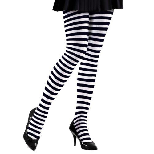 Damen Kostüm Hexe S-XL Strumpfhose Ringelstrumpfhose  schwarz-weiß gestreift