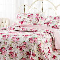 Beautiful Cottage Chic Rose White Purple Red Purple Green Lilac Pink Quilt Set