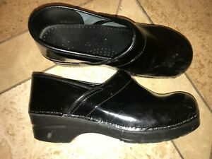 Sanita-Black-Shiny-Leather-Professional-Clogs-Size-40-US-9-9-5