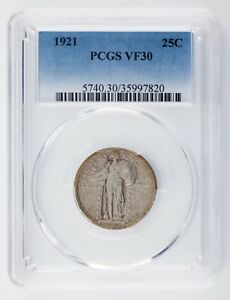 1921-25C-Standing-Liberty-Quarter-Graded-by-PCGS-as-VF30-Nice-Silver-Coin
