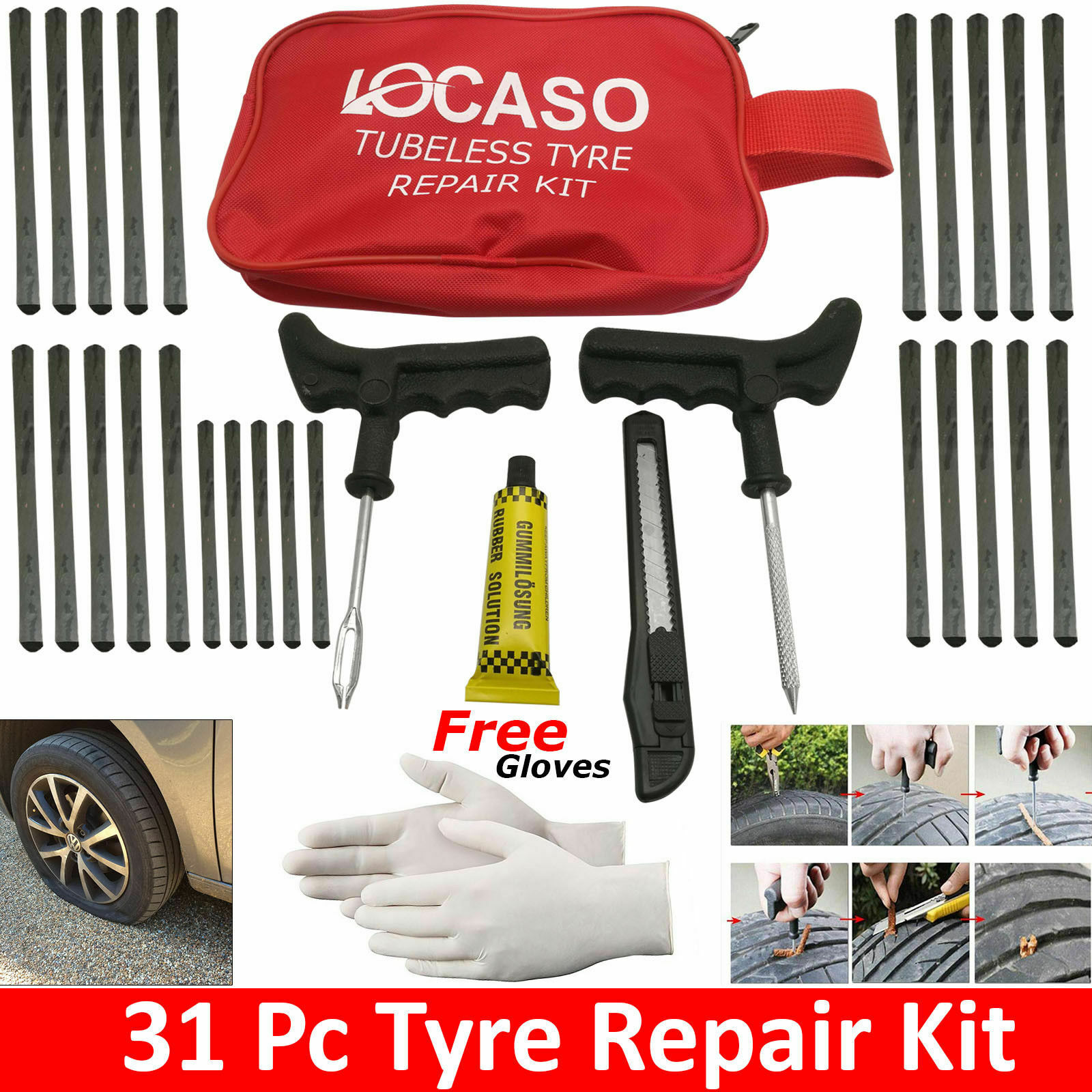 31 Pieces Emergency Puncture Repair Kit Car Van Motorcycle Tubeless Tyre Van Uk 5060515240198 Ebay