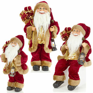 Santa with Gift Sack Christmas Tree Topper Decoration in Burgundy by Premier