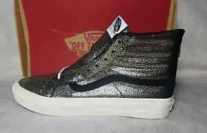 e2ca2d5acf Vans New SK8 HI Slim Zip Suede Leather Gold Dots Black White Shoe ...