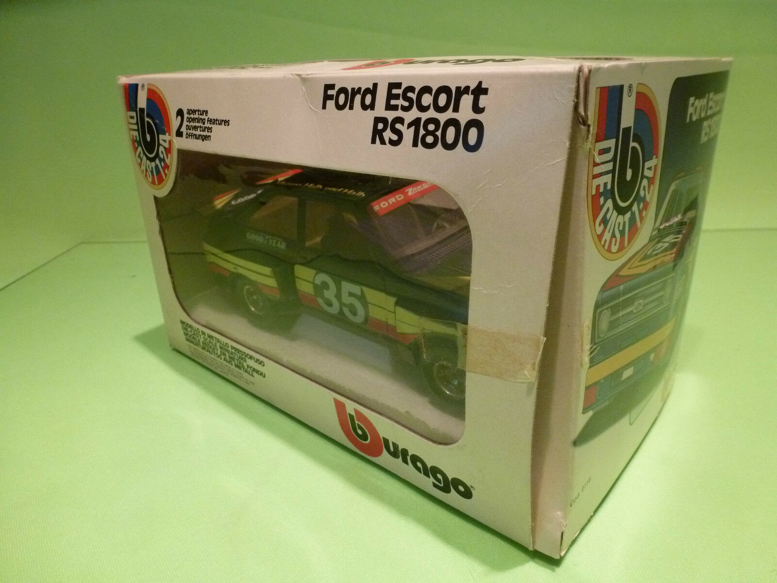 BBURAGO 0118 FORD ESCORT ESCORT ESCORT RS 1800 - RALLY 1 24 - RARE SELTEN - GOOD COND. IN BOX 9ad91c