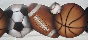 Sports Baseball Soccer Football Basketball Wallpaper Border 9 1 2