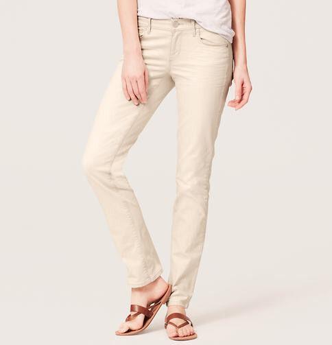 Ann Taylor LOFT Modern Straight Leg Jeans Pants in Spring Beige Pinstripe NWT