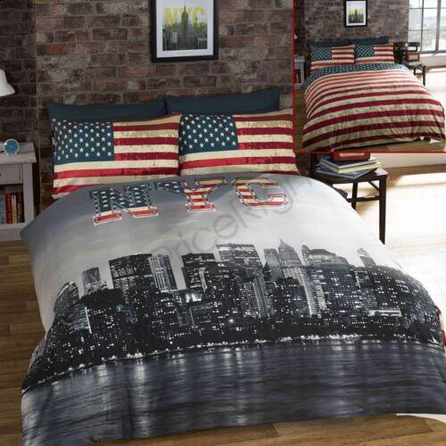 NEW YORK SKYLINE DUVET COVER /& PILLOWCASE BEDDING SET 200 X 200CM
