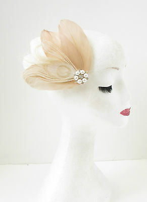 Ivory White Cream Bleached Peacock Feather Hair Clip Fascinator Bridal Pearl Y22