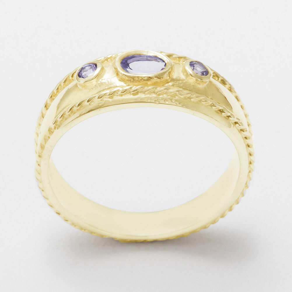 Solid 14k Yellow gold Natural Tanzanite Womens Trilogy Ring - Sizes 4 to 12