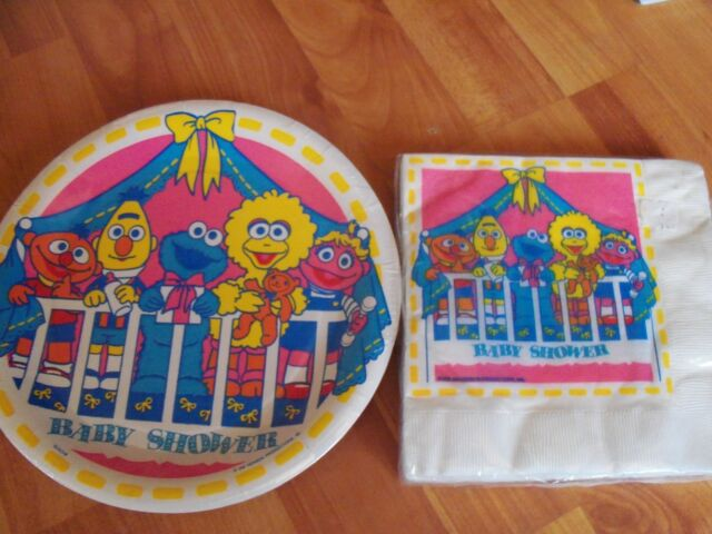 Sesame Street Baby Shower Party Supplies Vtg 2pc Lot Beach Multi