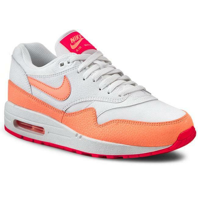 Size 10 Nike Donna Air Max 1 Essential 599820 114 White Orange Creamcile Lava