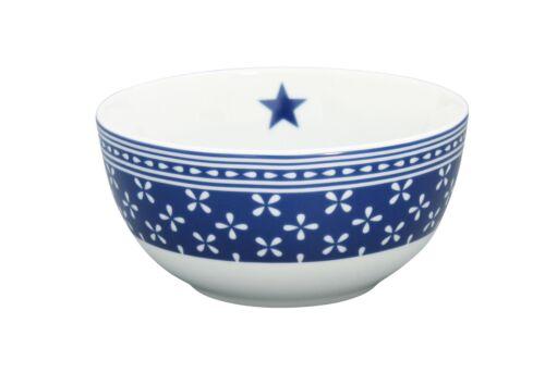 Krasilnikoff Coque Happy Bowl Daisy Bleu Foncé fleurs blanc bleu des Céréales Bol