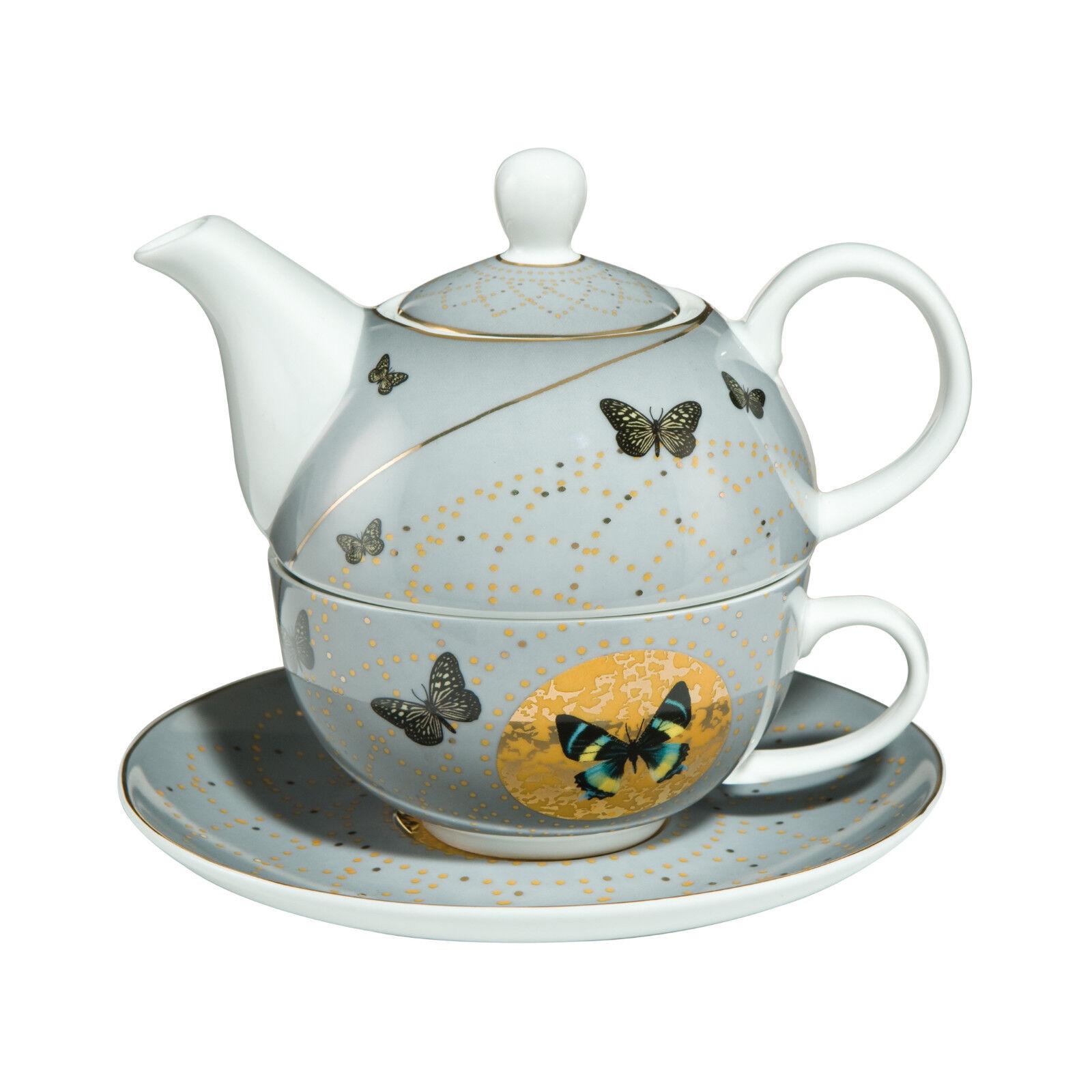 Goebel grau Butterflies Tea for One Tasse + Kanne Johann Charlotte NEUHEIT 2017