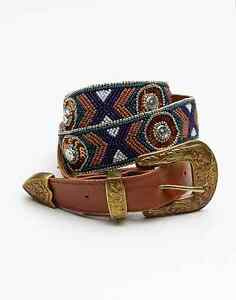 NEW ANTHROPOLOGIE FREE PEOPLE BROWN EMBELLISHED WESTERN BELT SIZE SMALL / MEDIUM