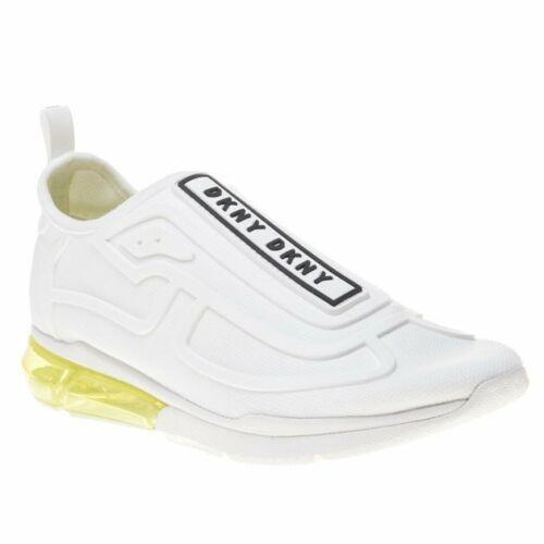 New Womens DKNY White Nilli Nylon Trainers Running Style Elasticated Slip On