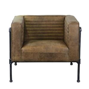 Fine Details About Home Fare Industrial Channeled Leather And Metal Accent Chair In Aged Brown Andrewgaddart Wooden Chair Designs For Living Room Andrewgaddartcom