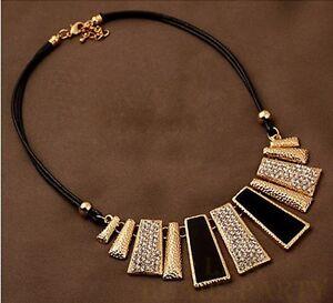 Fashion-Jewelry-Pendant-Trapezoid-Choker-Leather-Rope-Chain-Bib-Necklace-Black