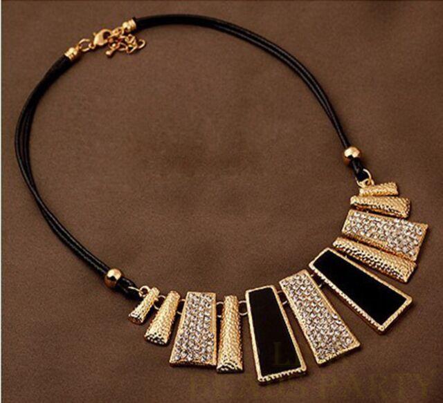 Fashion Jewelry Pendant Trapezoid Choker Leather Rope Chain Bib Necklace Black