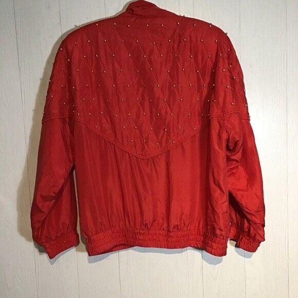 Vintage Bogari Silk Red Bomber Jacket With Beads - image 4