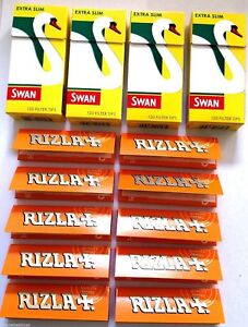 SWAN-EXTRA-SLIM-Filter-Tips-and-10-x-Packets-of-RIZLA-LIQUORICE-ROLLING-PAPERS