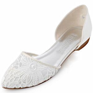 best sneakers 9ef15 f221e Details zu FC1527 Ivory Spitze Zehen Lace Bequem Flache Satin  Hochzeitsschuhe Brautschuhe
