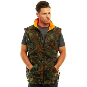MEN-039-S-REVERSIBLE-CAMO-amp-BLAZE-ORANGE-FLEECE-HUNTING-VEST-FULL-ZIP-WARM-VEST