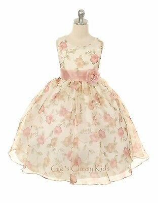 Flower Girl Rose Floral Dress Pageant Wedding Bridesmaid Formal Party Easter 199