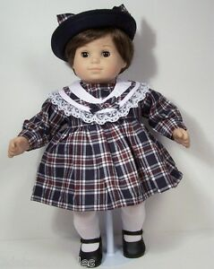 2pc Navy Blue Burgundy Plaid Dress W Hat Doll Clothes For