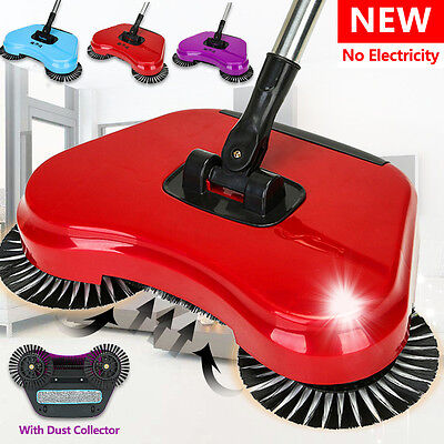 Hand Push Floor Sweeper Automatic Household Cleaning Spinning Broom No  DE