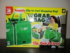 As Seen on TV Grab Bag Reusable Clip To Cart Grocery Shopping Bags Pack of 2