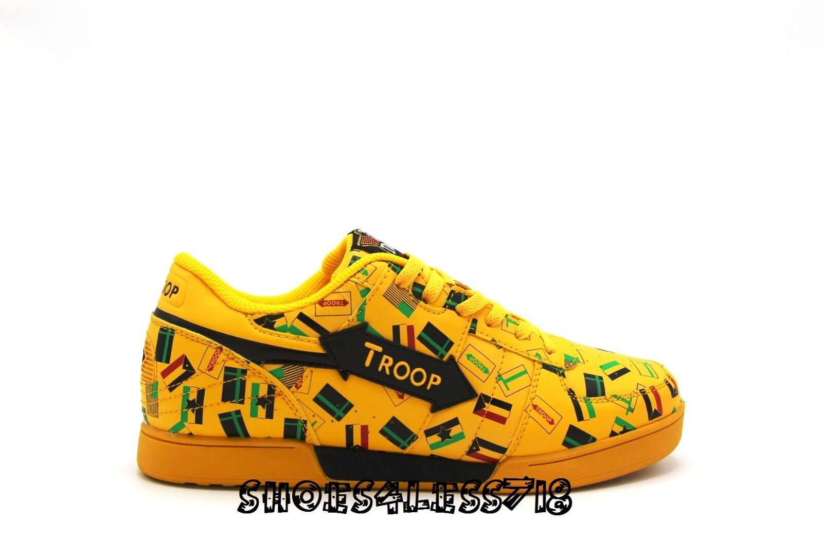 NEW TROOP CROWN LIMITED EDITION OLD SCHOOL VINTAGE YELLOW FLAG LOW TOP SNEAKERS