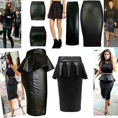 Womens Ladies Pencil High Waist Wet Look Faux Leather Midi skater Skirt