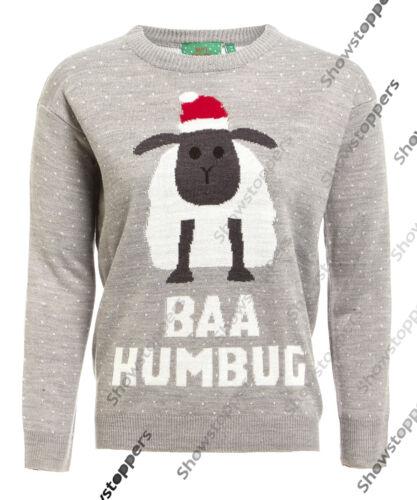 NEU Damen Weihnachts Pullover Oberteil Baa Humbug Schaf Größe 10 12 14 16