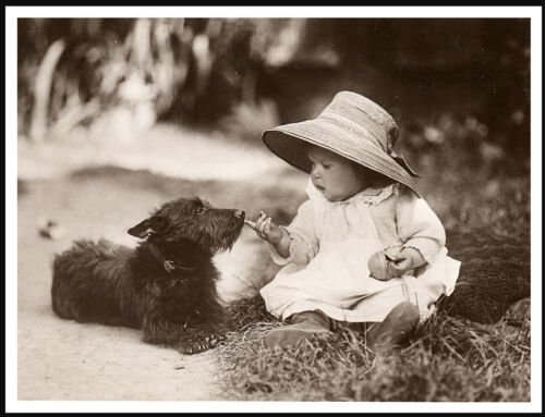 SCOTTISH TERRIER AND CUTE BABY GIRL LOVELY VINTAGE STYLE IMAGE DOG PRINT POSTER