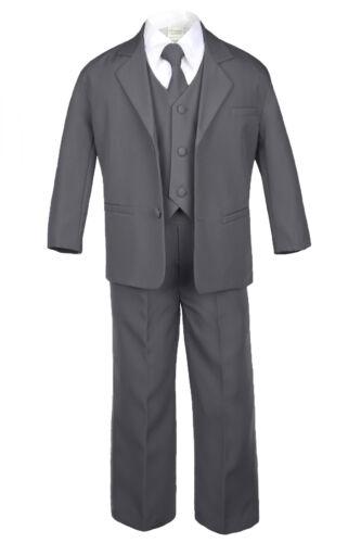 5pc Baby Toddler Boy Formal Suit Black Brown Gray Khaki Green White Navy Sm-20