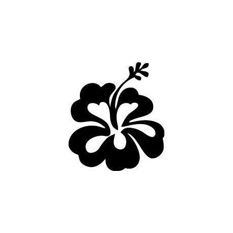 Hibiscus fleur autocollant voiture noir sticker 11,5 x 10,5 cm