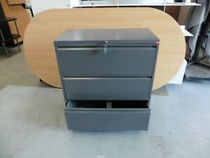 OFFICE-3-X-DRAWER-CHARCOAL-GREY-LATERAL-FILING-CABINET-BRISBANE
