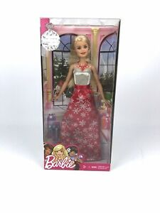 Barbie-Holiday-Christmas-Doll-2016-FDR53-Red-amp-White-Dress-Blonde