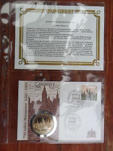 Analytique Numisbrief Médailles Lettre Hanovre 1991-afficher Le Titre D'origine Performance Fiable