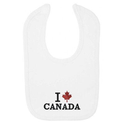 Io Amo Canada Bavaglino-ricamato Idea Regalo// Canadese Foglia D'acero/divertente-