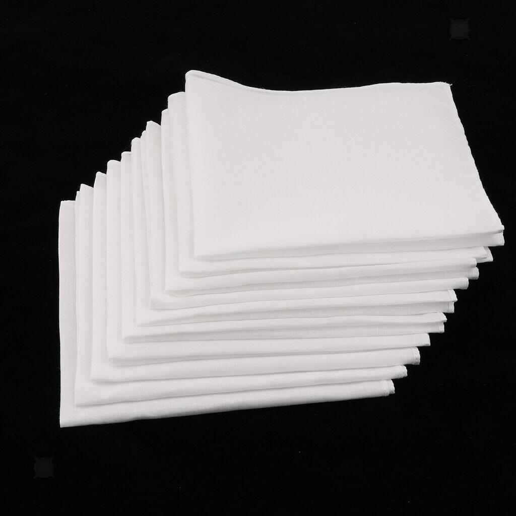 10pcs Mens Handkerchiefs Cotton Classic Hankies Party Hanky white square