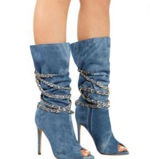 Moda Para mujeres mitad de la Pantorrilla Pantorrilla Pantorrilla botas stiletto cadena Denim Punta Abierta Zapatos De Tacones Altos  suministro directo de los fabricantes