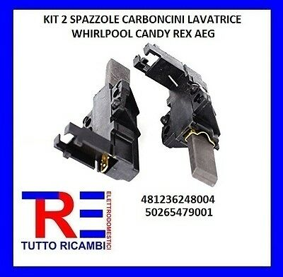 KIT 2 SPAZZOLE CARBONCINI LAVATRICE WHIRLPOOL CANDY REX 481236248004 50265479001