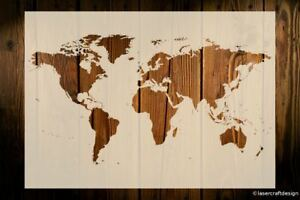 World Map Stencil Art Crafts Paint Wood Signs Wall Decor Furniture