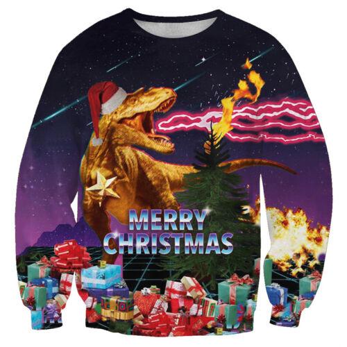 Christmas Women Men Santa Claus Funny Print 3D Casual Sweatshirt Hoodie Pullover