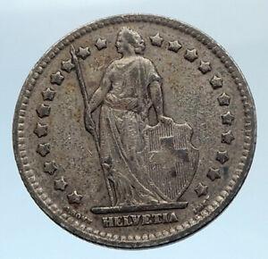 1914-SWITZERLAND-SILVER-1-Franc-Coin-HELVETIA-Symbolizes-SWISS-Nation-i74320