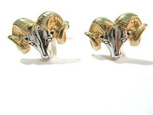 ARIES Vintage Ram Cufflinks garnet Rhinestone eyes Sheep Vintage Gold Wildlife Astrology mens accessory Leo Sagittarius gift
