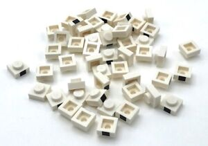 Lego-50-New-White-Plates-1-x-1-with-1-Black-Square-Pattern-Pieces