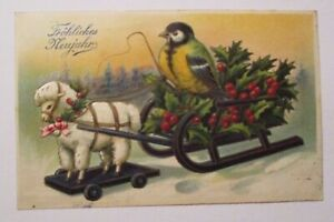 034-New-Year-Tit-Bird-Sled-Toy-Horse-034-1914-Embossed-Postcard